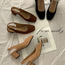 Square Toe Suede Street Style Plain Office Style