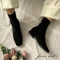 Square Toe Casual Style Suede Street Style Plain