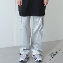 Nylon Street Style Plain Oversized Pants