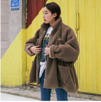 Stand Collar Coats Unisex Faux Fur Street Style Plain Medium