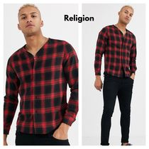 Religion Other Check Patterns Street Style Bi-color Long Sleeves