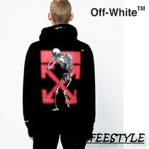 Off-White Skull Street Style Long Sleeves Plain Hoodies