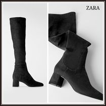 ZARA Plain Block Heels Over-the-Knee Boots