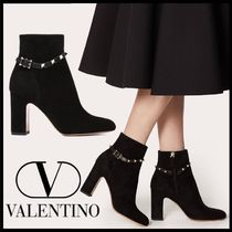 VALENTINO Casual Style Suede Studded Plain Block Heels