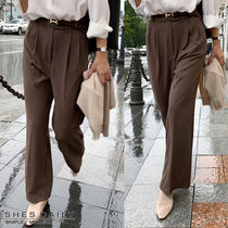Plain Long Office Style Pants