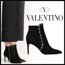 VALENTINO Casual Style Suede Studded Plain Pin Heels