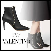 VALENTINO Casual Style Studded Plain Pin Heels Ankle & Booties Boots