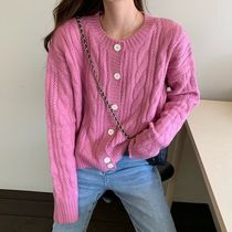 Cable Knit Short Casual Style Rib Dolman Sleeves