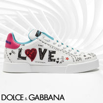 Dolce & Gabbana Casual Style Blended Fabrics Leather Low-Top Sneakers