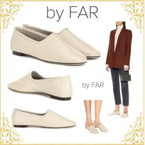 by FAR Round Toe Casual Style Plain Leather Handmade Flats