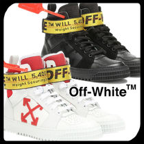 Off-White Round Toe Rubber Sole Casual Style Plain Leather