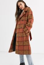 ASOS Tartan Other Plaid Patterns Casual Style Long Dark Brown
