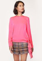Milly Casual Style Silk Long Sleeves Plain Shirts & Blouses
