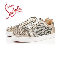 Christian Louboutin Round Toe Casual Style Studded Other Animal Patterns Leather