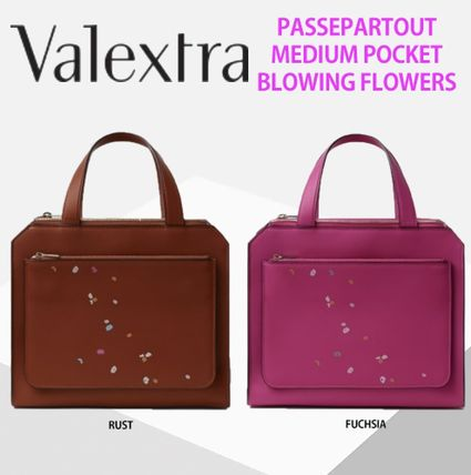 Flower Patterns Casual Style Calfskin Elegant Style Handbags
