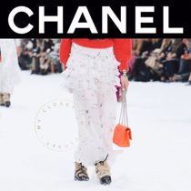 CHANEL ICON Flared Skirts Flower Patterns Maxi Silk Street Style Long