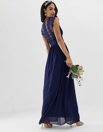 Sleeveless Plain Long Party Style Lace Dresses