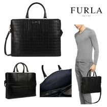 FURLA Calfskin A4 2WAY Other Animal Patterns Business & Briefcases