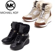 Michael Kors Casual Style Suede Faux Fur Leather Wedge Boots