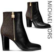 Michael Kors Monogram Casual Style Street Style Leather Block Heels