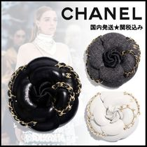 CHANEL Barettes Blended Fabrics Flower Chain Leather Clips
