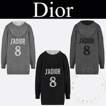 Christian Dior Cashmere Street Style Long Sleeves Long Handmade Oversized