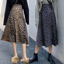 Flared Skirts Leopard Patterns Casual Style Plain Long