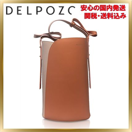 Bi-color Plain Leather Elegant Style Crossbody Shoulder Bags
