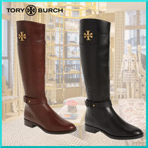 Tory Burch Round Toe Plain Leather Block Heels Elegant Style Flat Boots