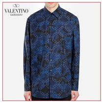 VALENTINO VLTN Camouflage Long Sleeves Cotton Shirts