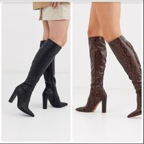 ASOS Casual Style Faux Fur Block Heels Over-the-Knee Boots