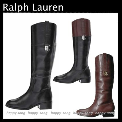 Rubber Sole Plain Leather Elegant Style Mid Heel Boots