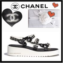 CHANEL Casual Style Chain Plain Leather Footbed Sandals