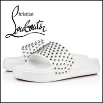 Christian Louboutin Blended Fabrics Studded Street Style Plain Leather Sandals