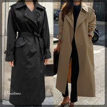 Casual Style Plain Long Office Style Oversized Trench Coats