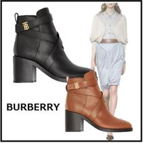 Burberry Leather Block Heels Elegant Style Logo Ankle & Booties Boots