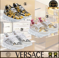 VERSACE Round Toe Rubber Sole Casual Style Unisex Street Style Chain