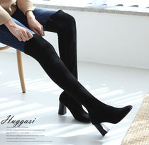 Round Toe Casual Style Suede Tassel Studded Plain