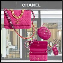 CHANEL 2019-20AW CHANEL 19 CHAIN WALLET&COINPURSE fuchsia