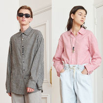 13MONTH Gingham Casual Style Unisex Street Style Long Sleeves Cotton