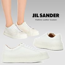 Jil Sander Platform Round Toe Rubber Sole Lace-up Casual Style