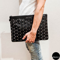 Jimmy Choo Star Unisex Studded Street Style A4 Leather Clutches