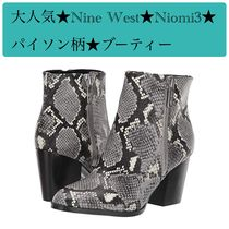 Nine West Round Toe Block Heels Python Ankle & Booties Boots