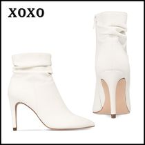 XOXO Casual Style Faux Fur Plain Office Style High Heel Boots