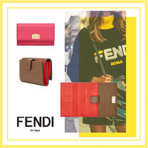 FENDI Calfskin Blended Fabrics Plain Leather Accessories
