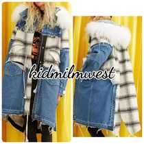 ELF SACK Other Check Patterns Casual Style Denim Faux Fur