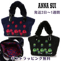 ANNA SUI Flower Patterns Casual Style Faux Fur 2WAY Totes