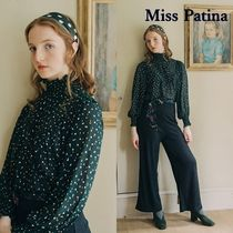 Miss Patina Dots Long Sleeves Office Style Elegant Style