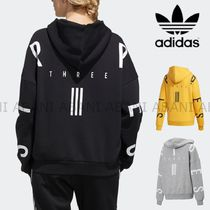 adidas Stripes Street Style Long Sleeves Cotton Medium Oversized