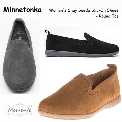 Round Toe Casual Style Suede Plain Slip-On Shoes